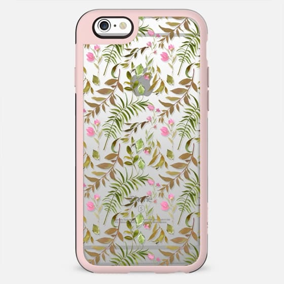 Artistic green pink hand painted watercolor leaves floral - New Standard Case
