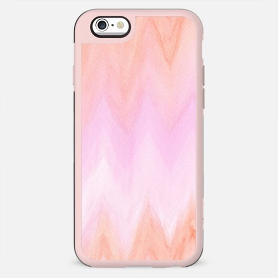 Geometric hand painted coral pink watercolor ikat chevron - New Standard Case