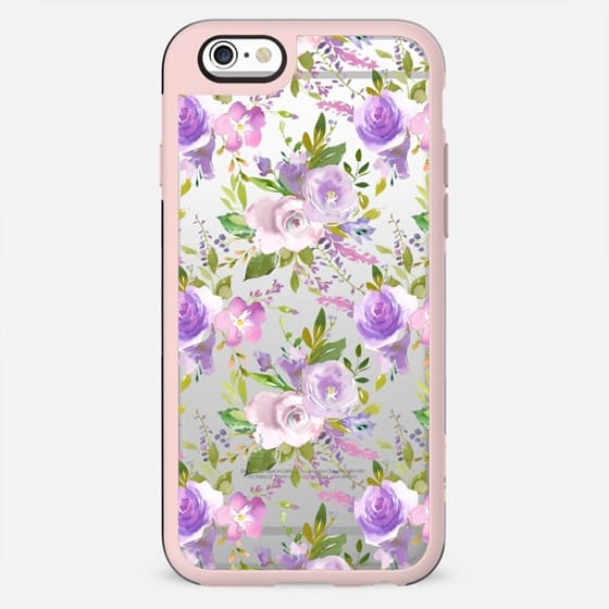 Violet lilac green watercolor hand painted floral
