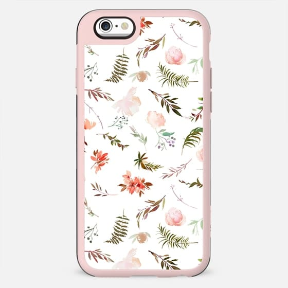 Coral pink green watercolor hand painted floral