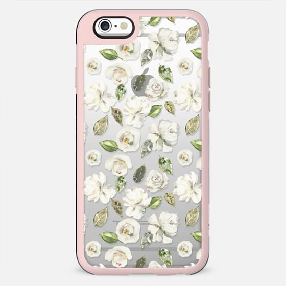 Modern off white green watercolor hand painted floral - New Standard Case