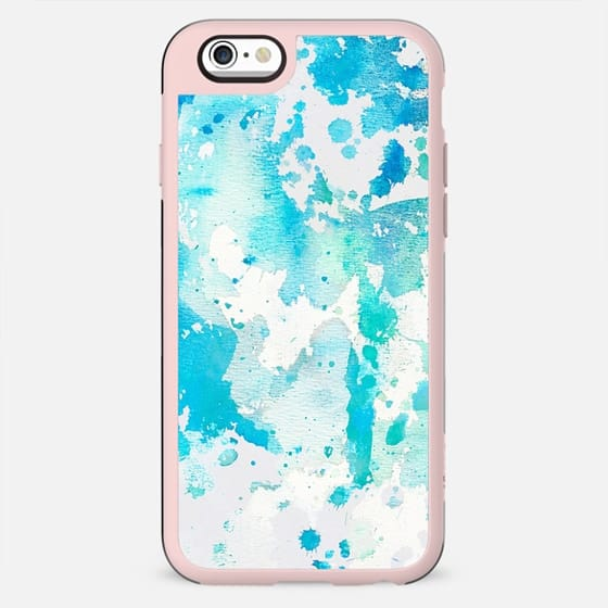 Hand painted aqua teal white watercolor splatters - New Standard Case