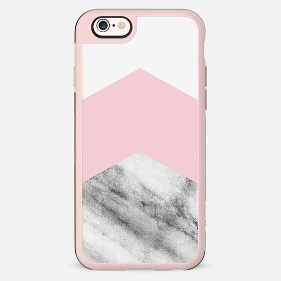 Blush pink black white geometric vintage marble - New Standard Case