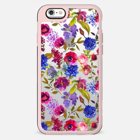 Hand painted lilac fuschia green watercolor floral pattern - New Standard Case
