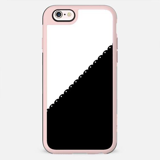 Contemporary black white colorblock lace stripe