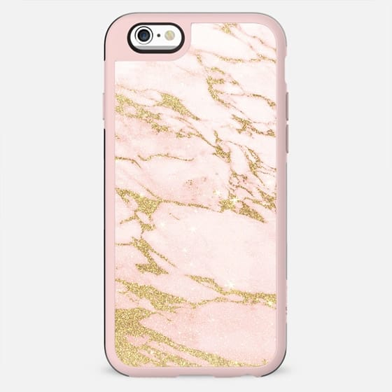 Blush pink abstract gold glitter marble - New Standard Case