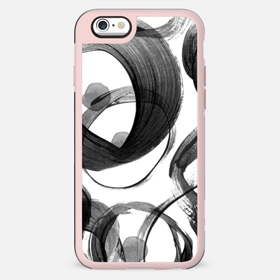 Modern abstract black white hand painted brushstrokes
