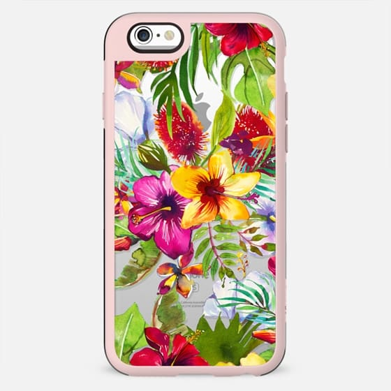 Pink red yellow tropical hand painted watercolor floral