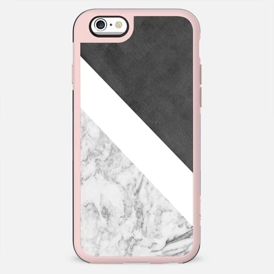 Black white geometrical abstract charcoal marble - New Standard Case