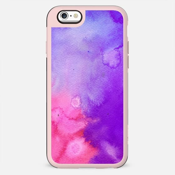 Pink blue violet abstract hand painted watercolor pattern - New Standard Case