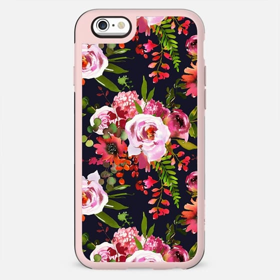 Hand painted black pink red watercolor roses floral