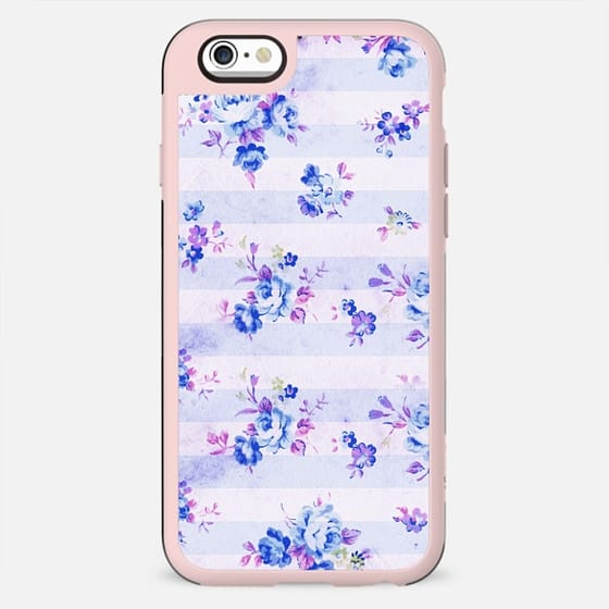 Vintage bohemian navy blue lavender floral stripes - New Standard Case