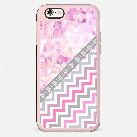 Pink gray chevron watercolor paint brushstrokes - New Standard Case