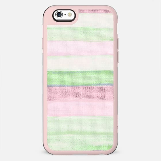 Blush pink green watercolor brushstrokes stripes - New Standard Case