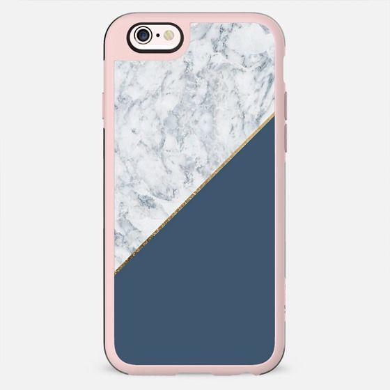 Elegant mauve blue white marble faux gold geometric