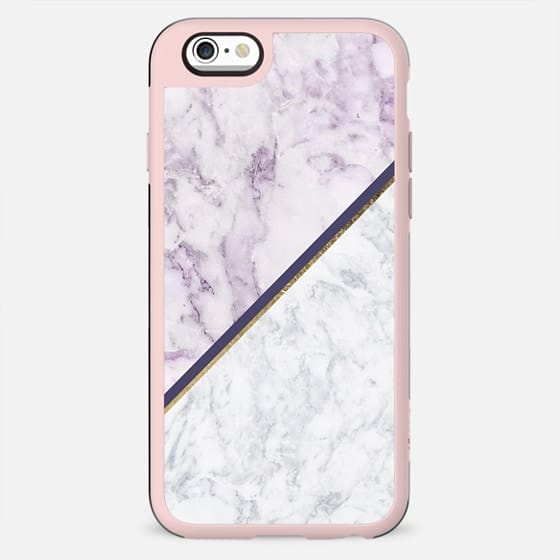 Lavender white faux gold abstract geometric marble - New Standard Case