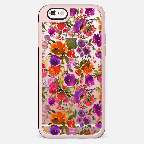Hand painted orange pink purple watercolor floral pattern - New Standard Case