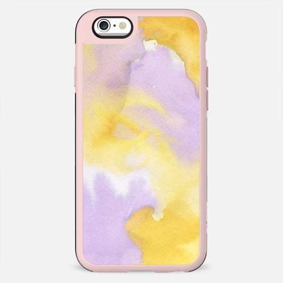 Lilac lavender sunflower yellow abstract watercolor - New Standard Case