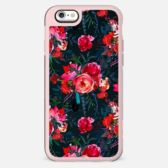 Neon pink fuschia black watercolor modern floral - New Standard Case