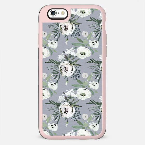 Hand painted modern gray white watercolor floral