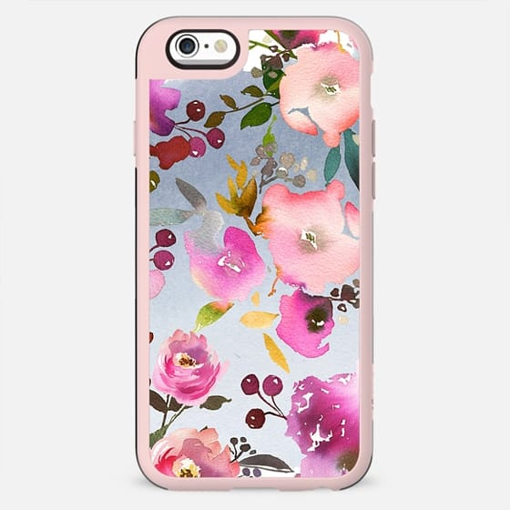 Hand painted pink violet gray watercolor floral - New Standard Case