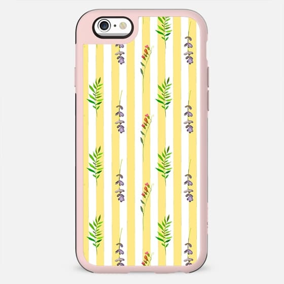 Geometrical yellow white pink watercolor floral leaves stripes - New Standard Case