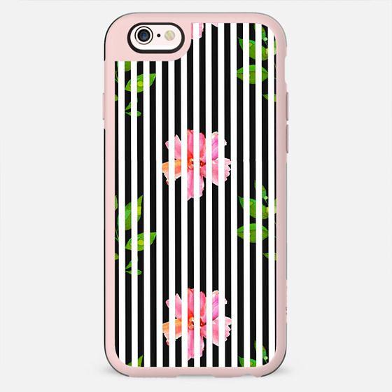 Geometrical black white stripes pink floral - New Standard Case