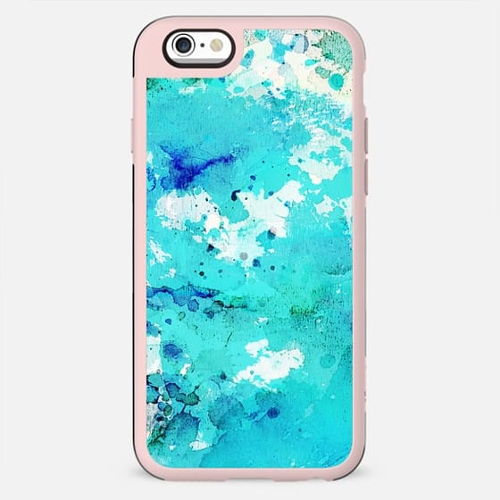 Abstract modern teal blue watercolor paint pattern