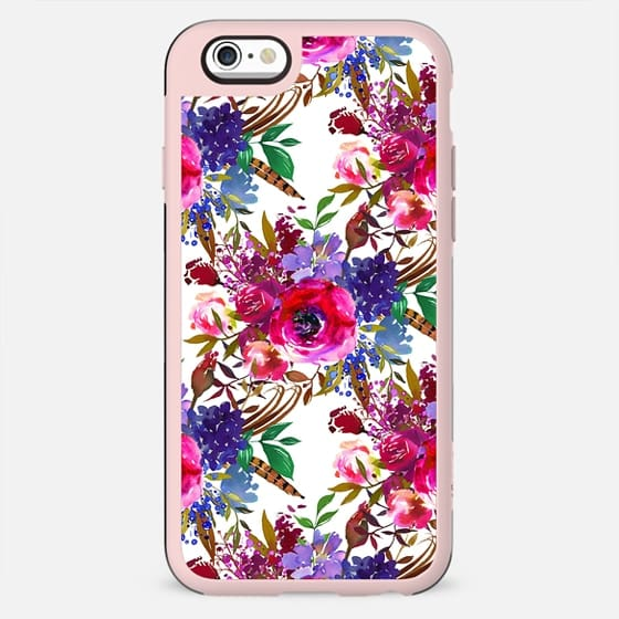 Pink blue violet watercolor modern boho  floral