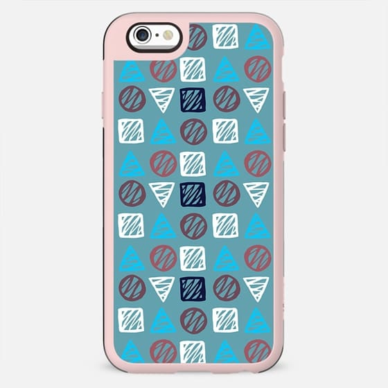 Modern abstract hand painted blue white geometrical pattern - New Standard Case