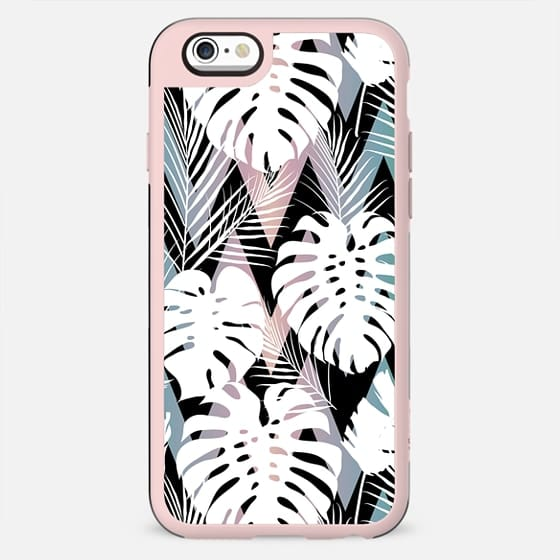 Blush pink green white hand painted tropical leaves chevron - New Standard Case