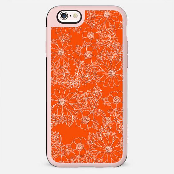 Hand drawn white bright orange modern floral