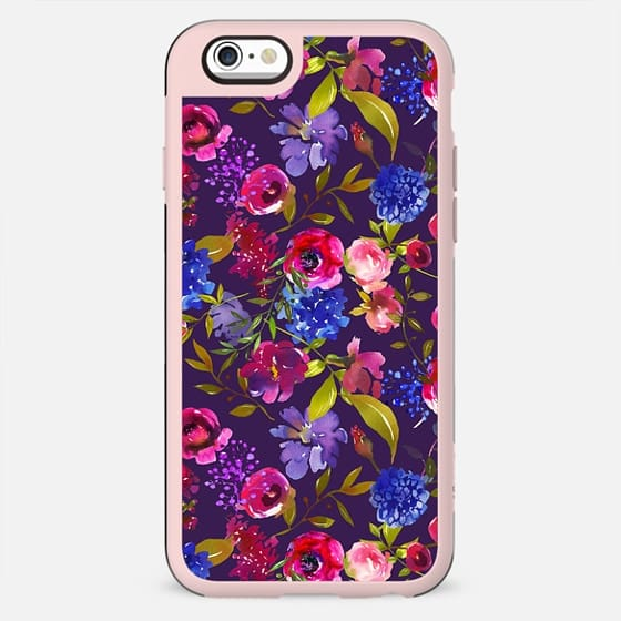 Hand painted neon pink violet watercolor floral pattern - New Standard Case