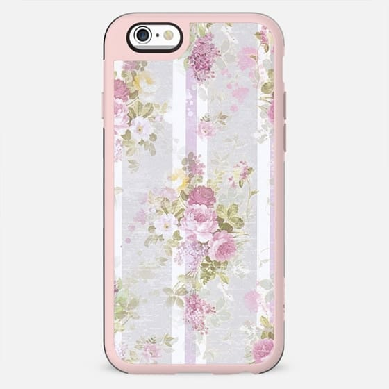 Vintage pink lilac watercolor roses floral stripes pattern - New Standard Case