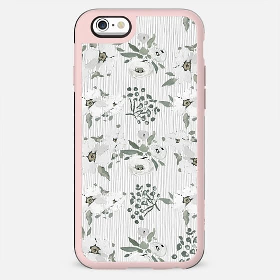 Vintage white mauve green watercolor floral
