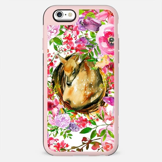 Colorful pink lilac brown watercolor deer floral - New Standard Case