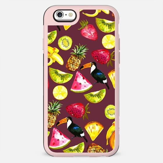 Burgundy yellow pink watercolor tropical bird fruit - New Standard Case
