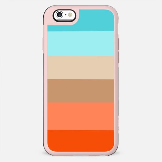 Modern orange aqua sand color block stripes - New Standard Case