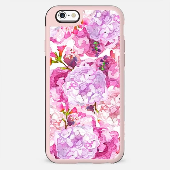 Hand painted pink lavender watercolor hortensia floral