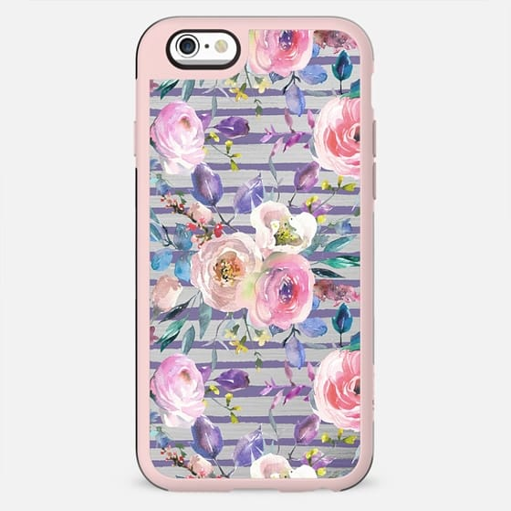 Pink lavender watercolor geometrical floral stripes