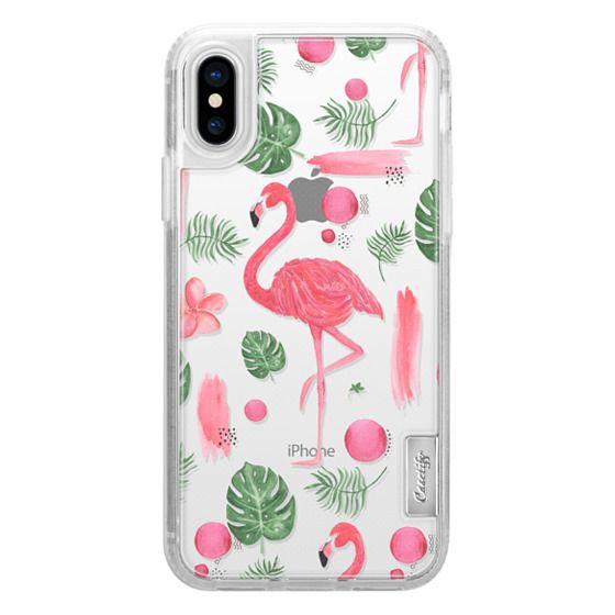 iPhone X Cases - Elegant hot pink watercolor tropical flamingo floral