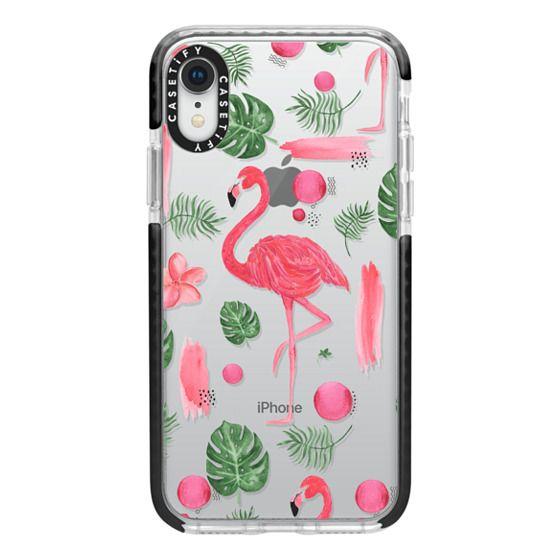 iPhone XR Cases - Elegant hot pink watercolor tropical flamingo floral