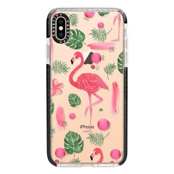 iPhone XS Max Cases - Elegant hot pink watercolor tropical flamingo floral