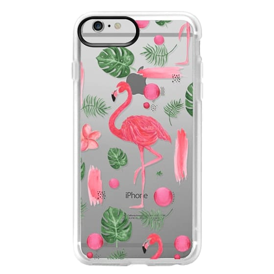 iPhone 6 Plus Cases - Elegant hot pink watercolor tropical flamingo floral