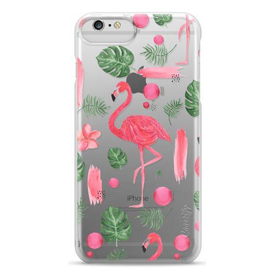 iPhone 6 Plus Cases - Elegant hot pink watercolor tropical flamingo floral