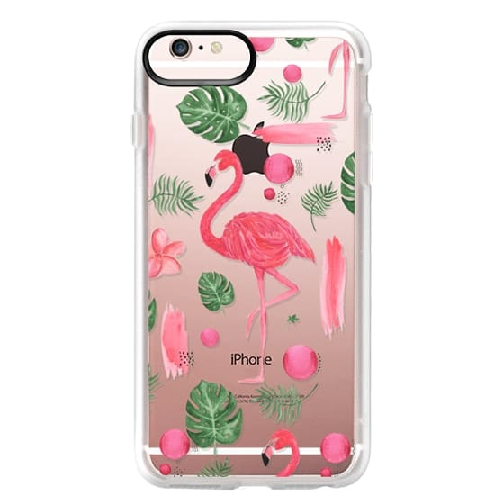 iPhone 6s Plus Cases - Elegant hot pink watercolor tropical flamingo floral