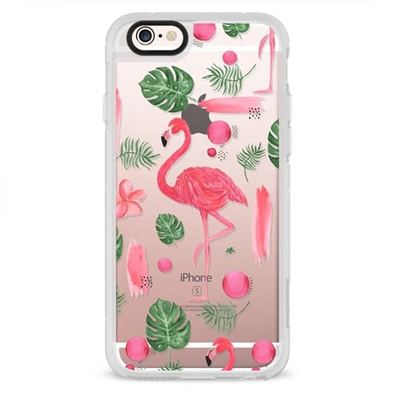 iPhone 4 Cases - Elegant hot pink watercolor tropical flamingo floral
