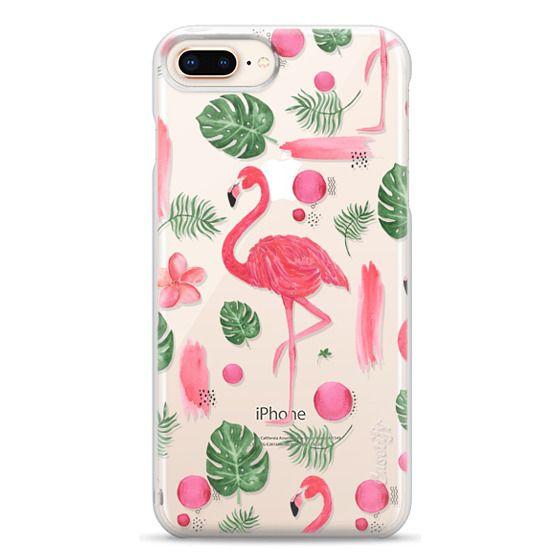iPhone 8 Plus Cases - Elegant hot pink watercolor tropical flamingo floral