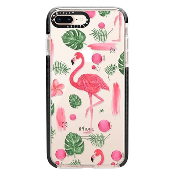 iPhone 8 Plus Cases - Elegant hot pink watercolor tropical flamingo floral