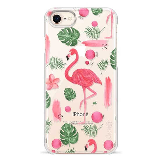 iPhone 8 Cases - Elegant hot pink watercolor tropical flamingo floral
